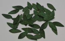 GREEN OBLONG ELLIPTICAL STEMLESS LEAVES (12mm) Mulberry Paper leaves